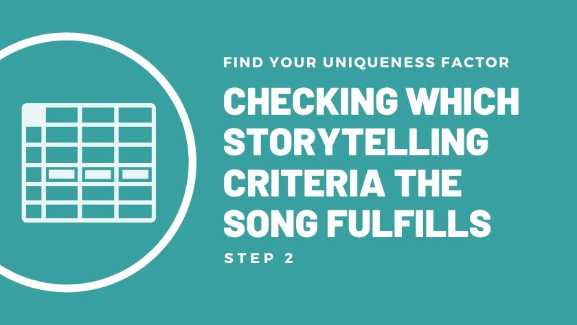 The storytelling criteria for writing great songs.